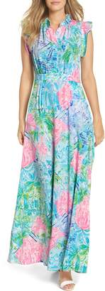 Lilly Pulitzer R) Palm Beach Silk Maxi Dress