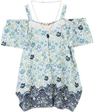 Speechless Girls 7-16 Cold Shoulder Tunic Top with Necklace