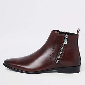 River Island Dark red leather side zip boots