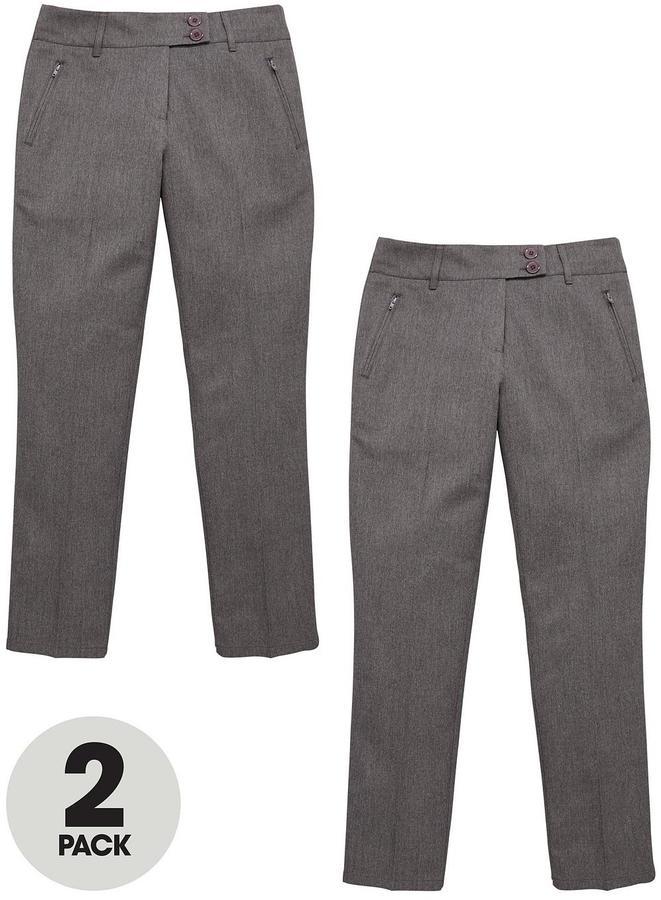 Very Pack Of 2 Girls Schoolwear Skinny Trousers