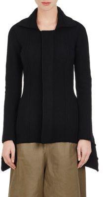 Yohji Yamamoto Women's Purl-Stitched Zip-Front Jacket-BLACK $1,280 thestylecure.com