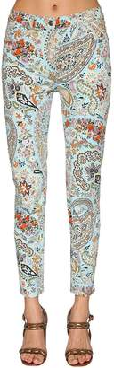 Etro Printed Cotton Denim Skinny Jeans