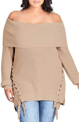 City Chic Juniper Side Lace Up Cotton Blend Sweater