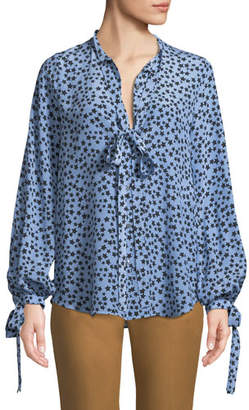 No.21 No. 21 Star-Print Tie-Neck Silk Button-Front Shirt