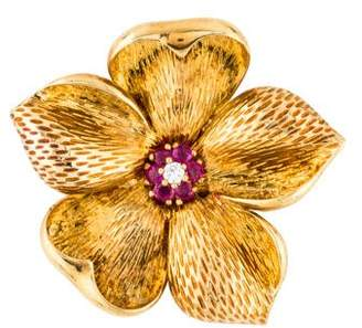 Tiffany & Co. 18K Diamond & Ruby Flower Pin