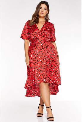 Quiz Curve Red Satin Animal Print Wrap Dip Hem Dress