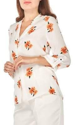 Dorothy Perkins Julia Floral Roll-Sleeve Shirt
