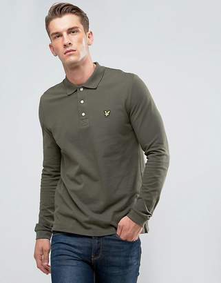 Lyle & Scott Long Sleeve Logo Polo Shirt Khaki