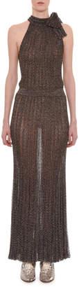 Missoni Sleeveless Tie-Neck Keyhole Metallic-Knit Long Dress