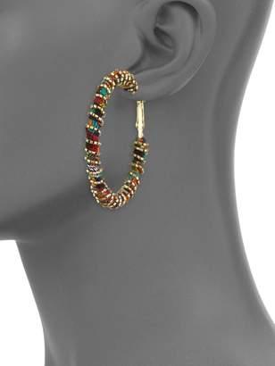 Panacea Fabric Wrapped Beaded Hoop Earrings