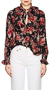 By Ti Mo byTiMo Women's Rose Tapestry-Print Crepe Blouse