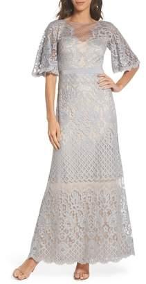 Tadashi Shoji Malina Flutter Sleeve Lace Gown