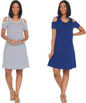 Denim & Co. Set of 2 Stripe & Solid Cold Shoulder Dresses