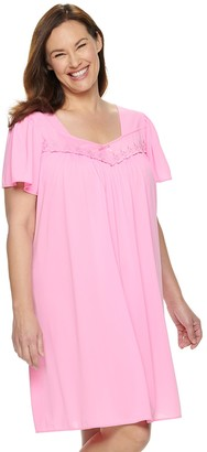 Miss Elaine Plus Size Essentials Pajamas: Short Tricot Nightgown