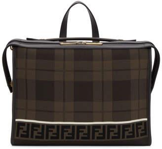 Fendi Brown Forever Tartan Lui Briefcase