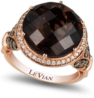 LeVian Le Vian Chocolate Quartz (8 ct. t.w.) and Diamond (3/4 ct. t.w.) Ring in 14k Rose Gold