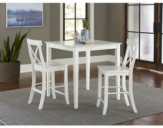 """INC International Concepts 36"""" Square Counter Height Dining Table with 2 X-Back Stools - White - 3 Piece Set"""