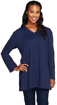 Denim & Co. Essentials Long Sleeve Oversized V-neck T-shirt