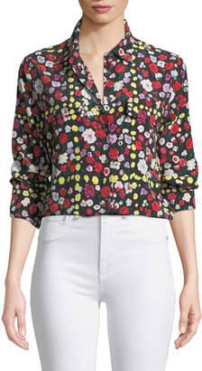 Equipment Slim Signature Long-Sleeve Grid Floral-Print Shirt