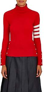 Thom Browne Women's Striped-Sleeve Cashmere Turtleneck Sweater - Red