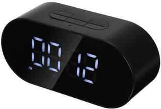 Kadell Home Decor LED Wireless Speaker Mirror Alarm Clock Desktop Clock Loudspeaker Support FM Radio/ AUX-in/ TF Card/ Flash Drive