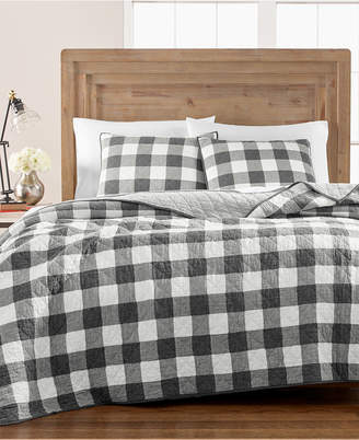 Martha Stewart Collection Box Plaid Reversible Yarn-Dyed Twin Quilt, Created for Macy's
