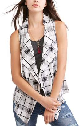 Self Esteem Juniors' Plaid Waterfall Vest w/ Tank & Necklace 3Fer