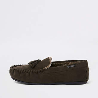 River Island Dark brown tassle moccasin slippers