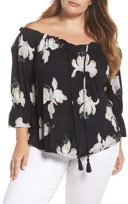 Lucky Brand Floral Print Off the Shoulder Top