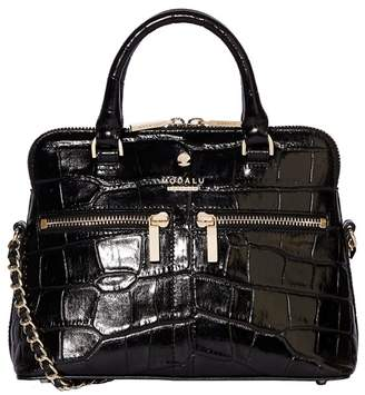 Modalu - Black Croc-Effect Pippa Chained Crossbody Bag