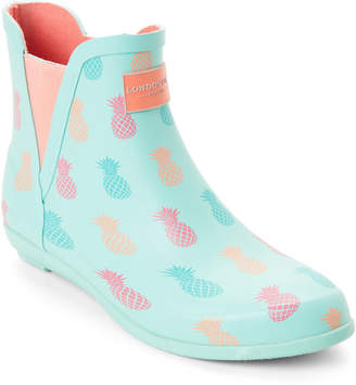 London Fog Pineapple Mint Piccadilly Demi Wedge Rain Boots