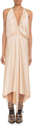 Chloé Deep-V Sleeveless Ruched Crepe Back Satin Cocktail Dress