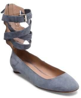 Valentino Suede Ankle Strap Ballerina Flats
