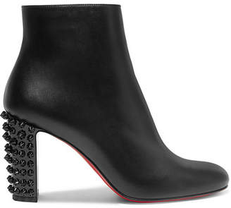 Christian Louboutin Suzi Folk 85 Spiked Leather Ankle Boots - Black