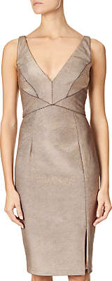 Adrianna Papell Panelled Bodice Sheath Dress, Rose Gold