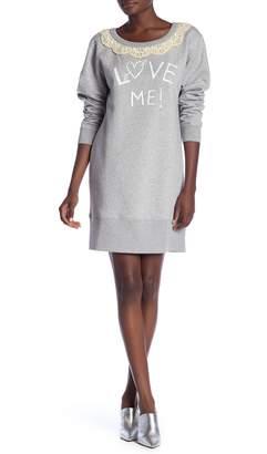 Love Moschino Abito Stampa Crew Neck Sweatshirt Dress