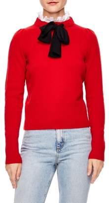 Sandro Tie Ruffle Neck Sweater