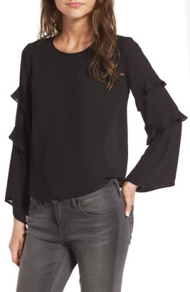 Women's Lush Ruffle Bell Sleeve Blouse $49 thestylecure.com