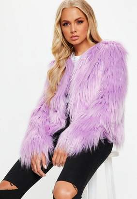 Missguided Lilac Shaggy Faux Fur Coat, Lilac