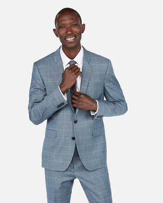 Express Extra Slim Windowpane Plaid Wool-Blend Stretch Suit Jacket
