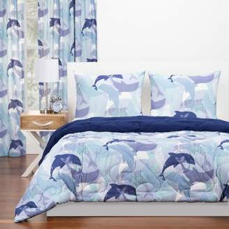 Crayola Life's Porpoise Reversible Comforter With Sham Blue