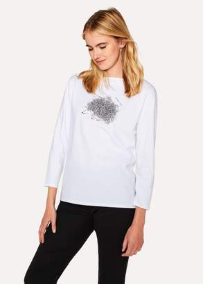 Paul Smith Women's White 'Hedgehog' Print Long-Sleeve T-Shirt