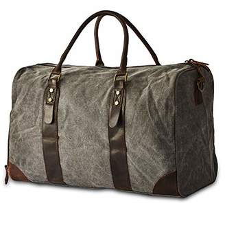 BRASS TACKS Leathercraft Men's Heavy Duty Canvas and Genuine Leather Duffel Gym Bag w/Shoulder Strap