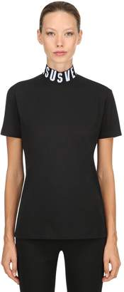 Versus Logo Collar Cotton Jersey T-Shirt