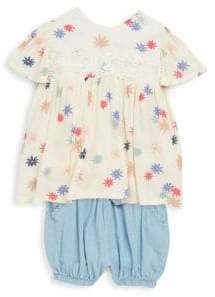 Jessica Simpson Baby's Two-Piece Floral Top and Denim Shorts Set