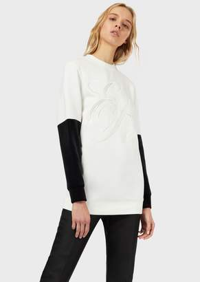 Emporio Armani Sweatshirt With Embroidered Logo And Contrasting-Coloured Sleeves