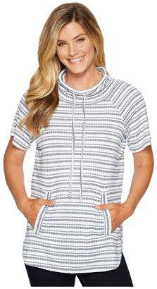 Vince Camuto Short Sleeve Variegated Stripe Rib Funnel Neck Pullover Women's Short Sleeve Pullover