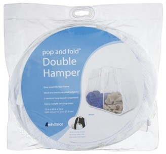Whitmor Pop & Fold Double Laundry Hamper White