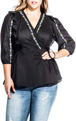 City Chic Be Free Embroidery & Ruffle Cotton Wrap Blouse