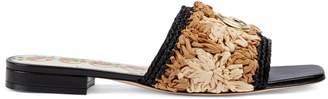 Gucci Raffia crochet flower sandal